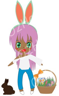 Asian chibi girl clip. Anime clipart bunny