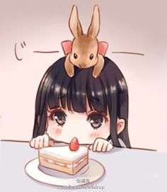Que fofura cute chibi. Anime clipart bunny