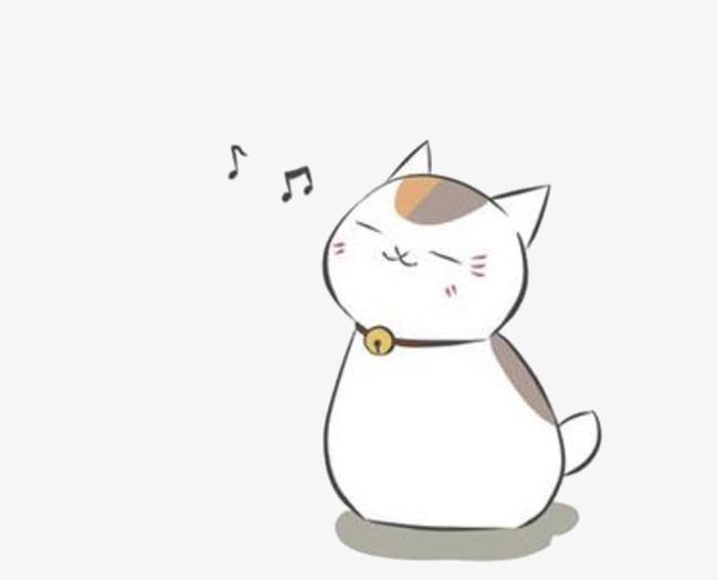 Music cartoon hand painted. Anime clipart cat