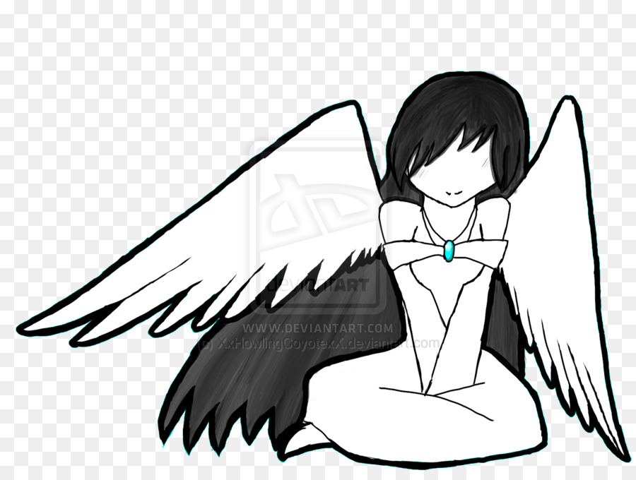 Black and white drawing. Anime clipart dark angel