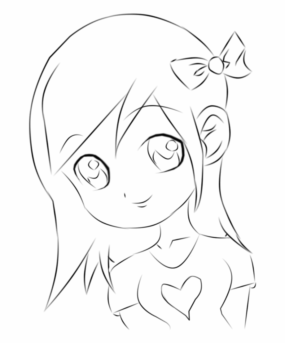 Girl sketch chibi drawing. Anime clipart easy