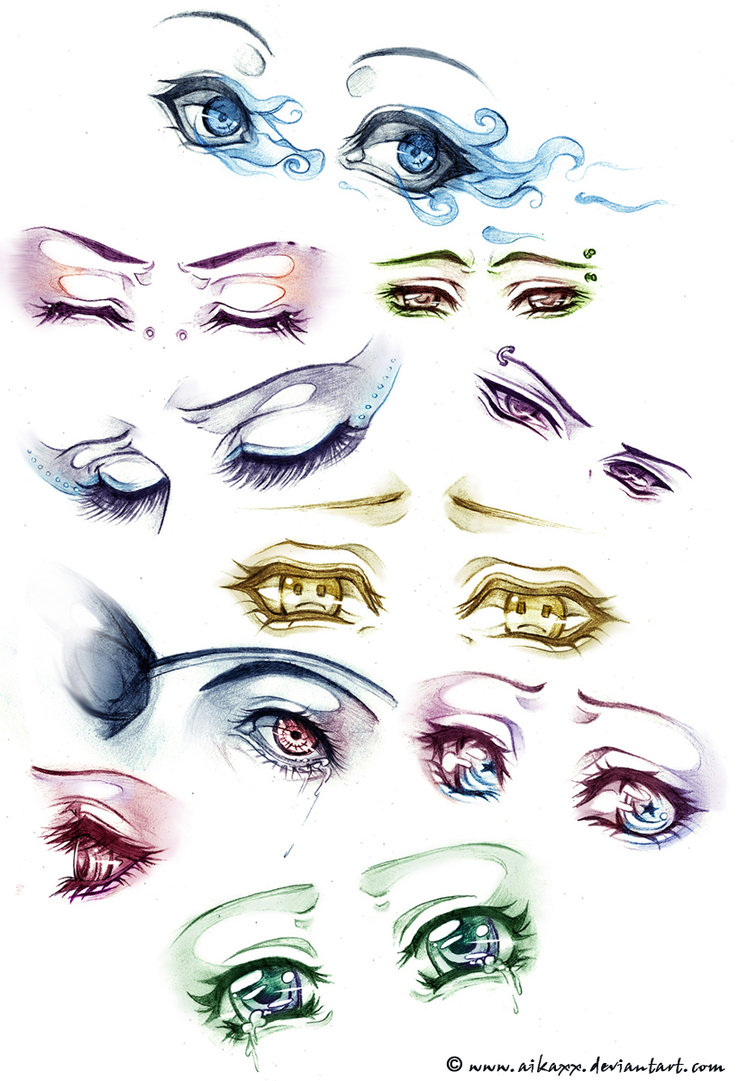 Sad and angry eyes. Anime clipart eye brows