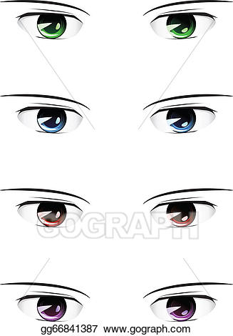 Anime clipart eye brows. Vector stock male eyes
