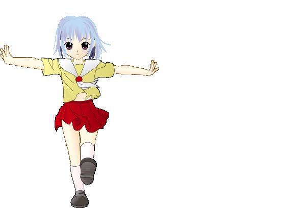Walking school girl clip. Anime clipart happy