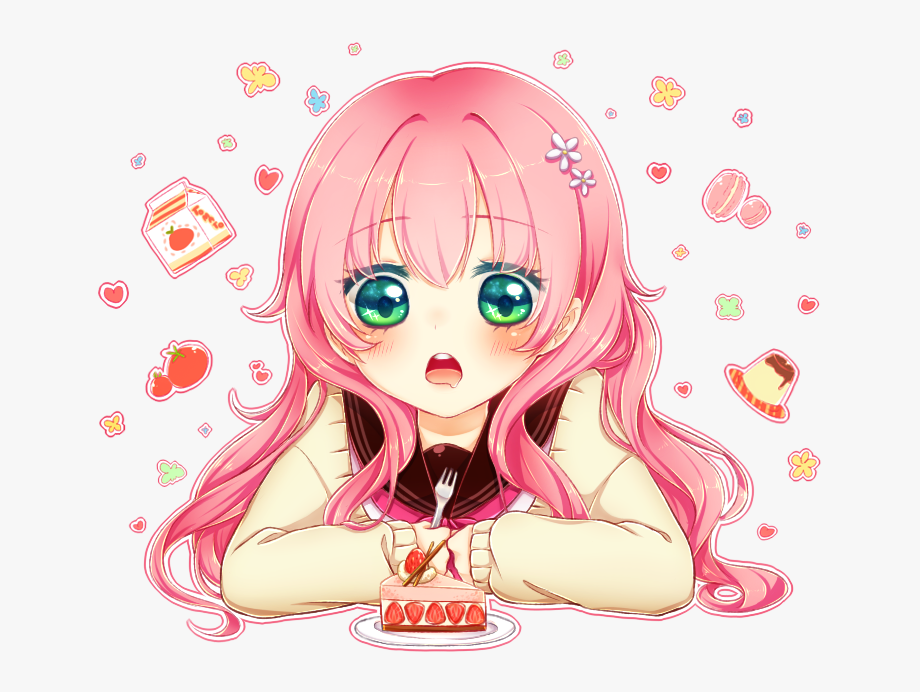 Girl birthday png . Anime clipart happy