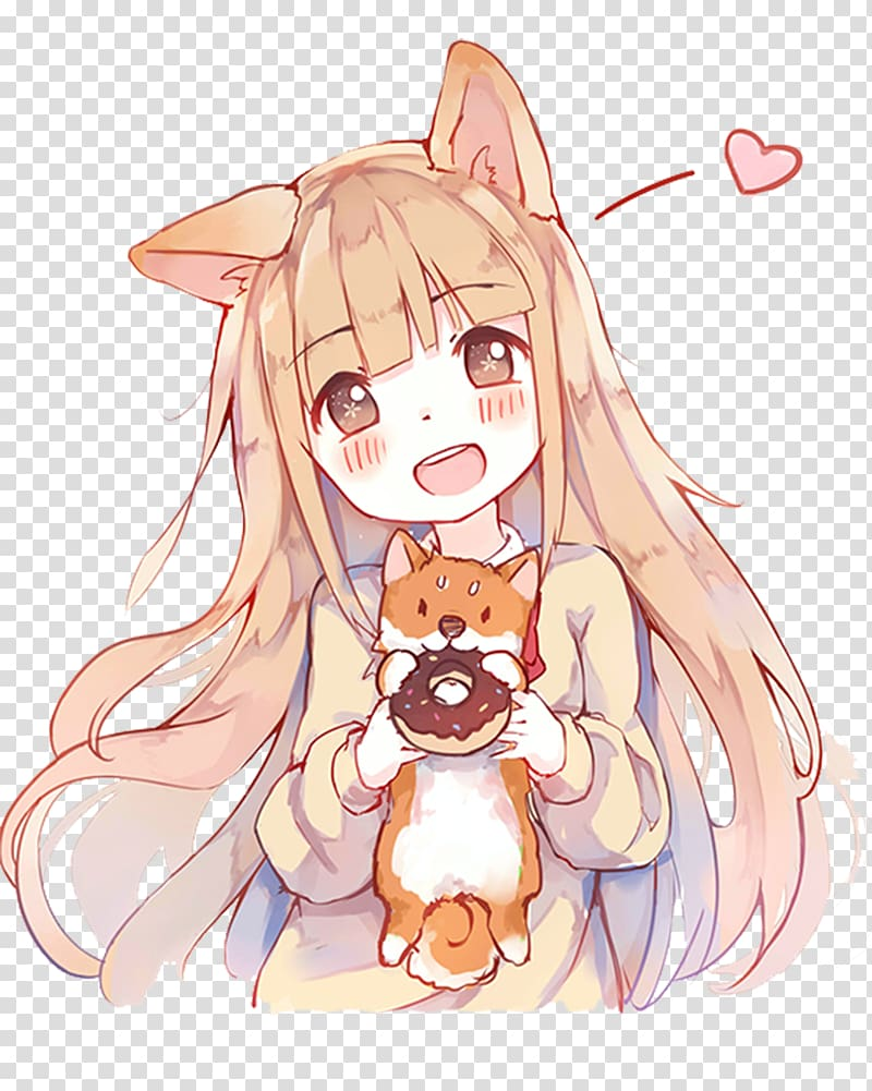 Woman holding cat and. Anime clipart happy