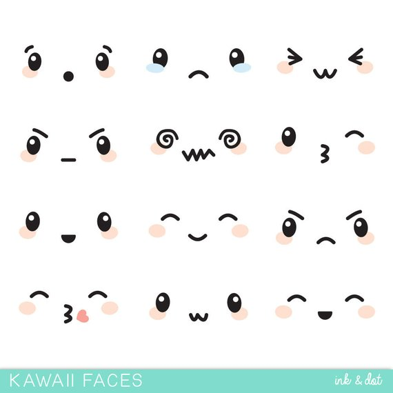 Faces clip art cute. Anime clipart kawaii