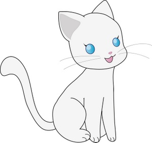 Pencil and in color. Anime clipart kitten