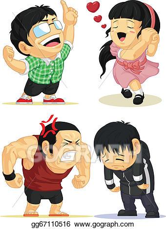 Anime clipart lover. Vector emotion set eureka