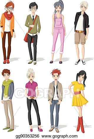Eps illustration manga teenagers. Anime clipart male