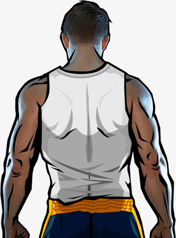 Cartoon male japanese anime. Back clipart muscular