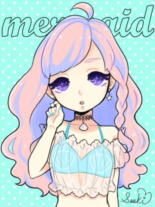 Anime clipart pastel. Goth mermaid saaki pastels