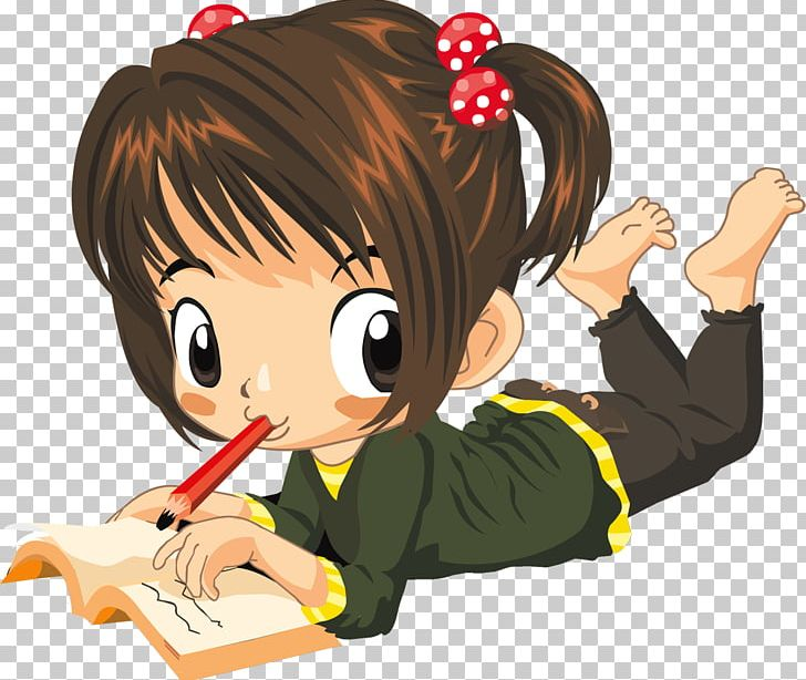 Writing girl png book. Anime clipart reading