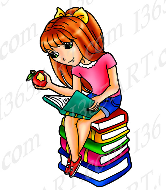 Anime clipart reading.  off girl clip