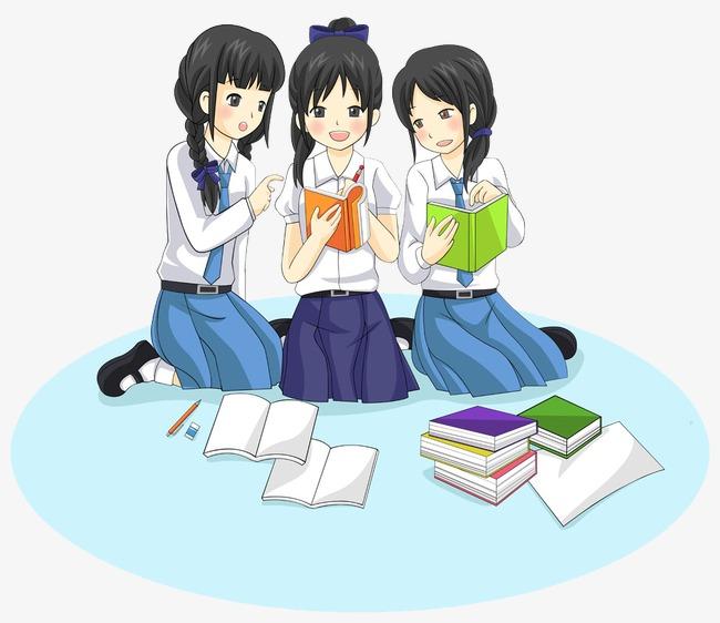 Anime clipart reading. Korea cute female students