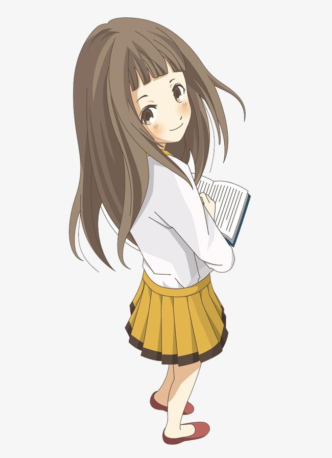 Cartoon girl a book. Anime clipart reading