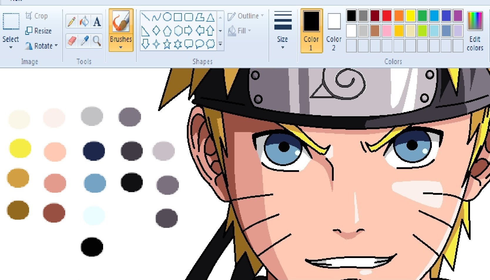 Drawing on paint naruto. Anime clipart shape