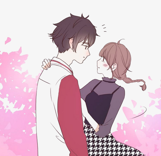 Romantic couple girl guy. Anime clipart shy
