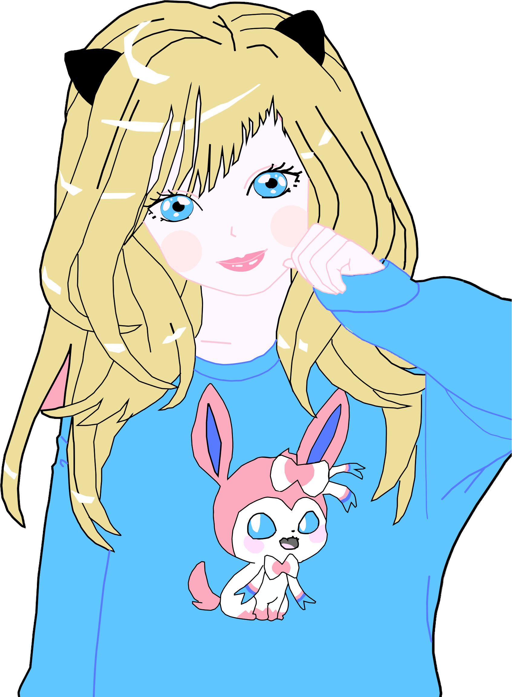 Blonde cat girl big. Anime clipart small