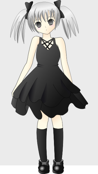 Anime clipart small. Girl with silver hair