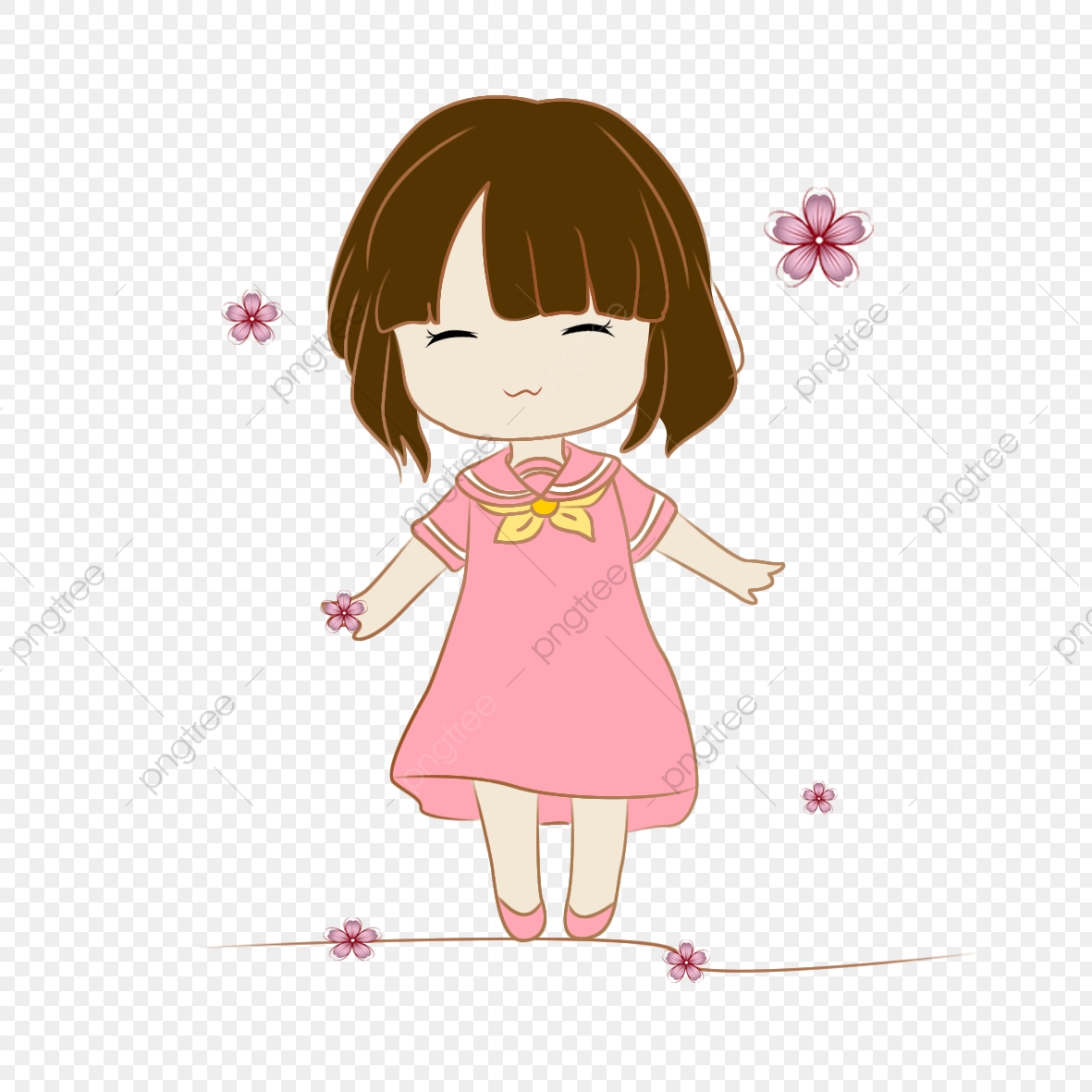 Anime clipart small. Cartoon cute girl lovely