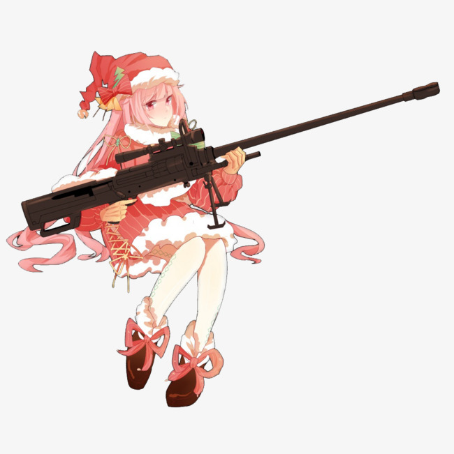 Gun cartoon characters pink. Anime clipart sniper