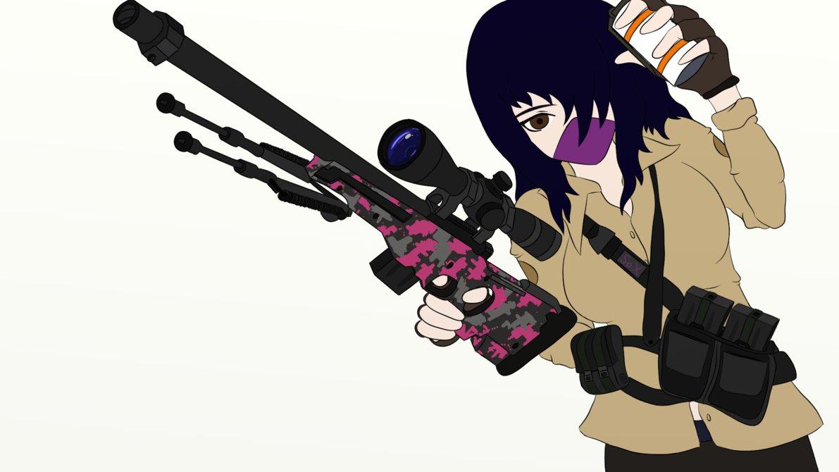 Counter strike girl flat. Anime clipart sniper