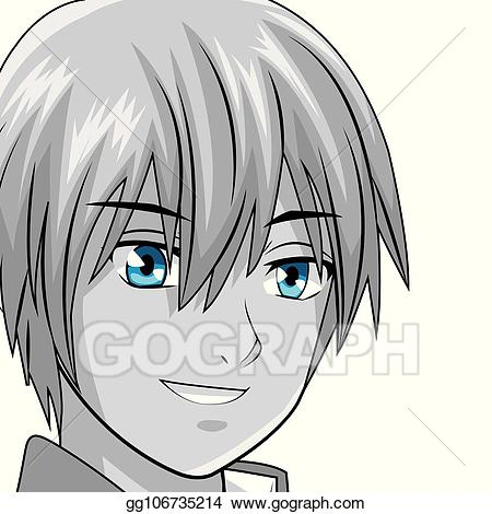 Anime clipart vector. Stock young man manga