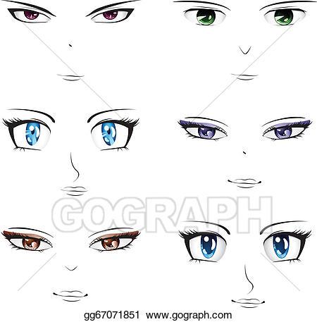 Anime clipart vector. Art faces drawing gg