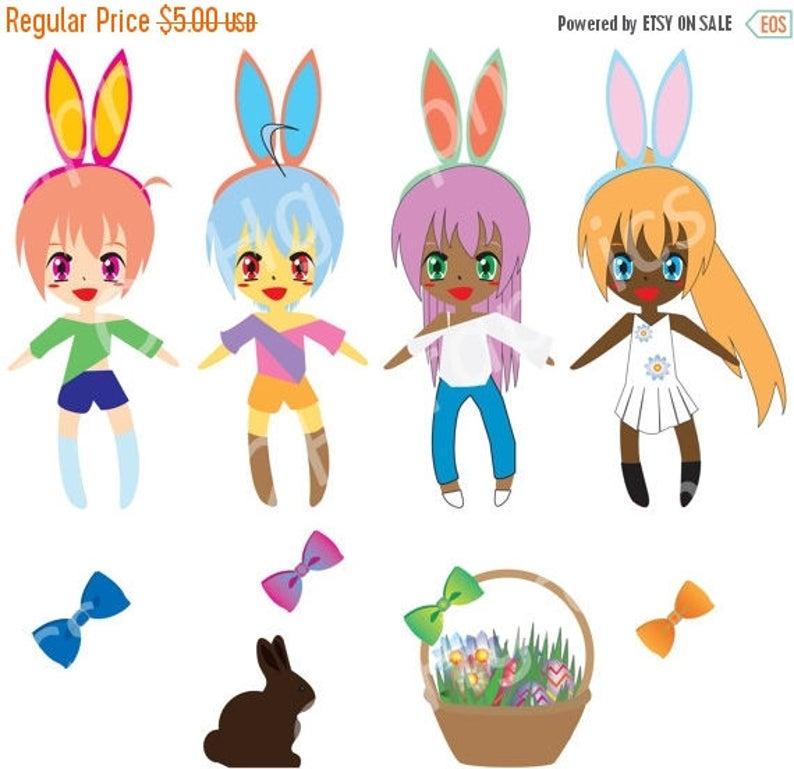 Anime clipart vector. Nov sale easter girls