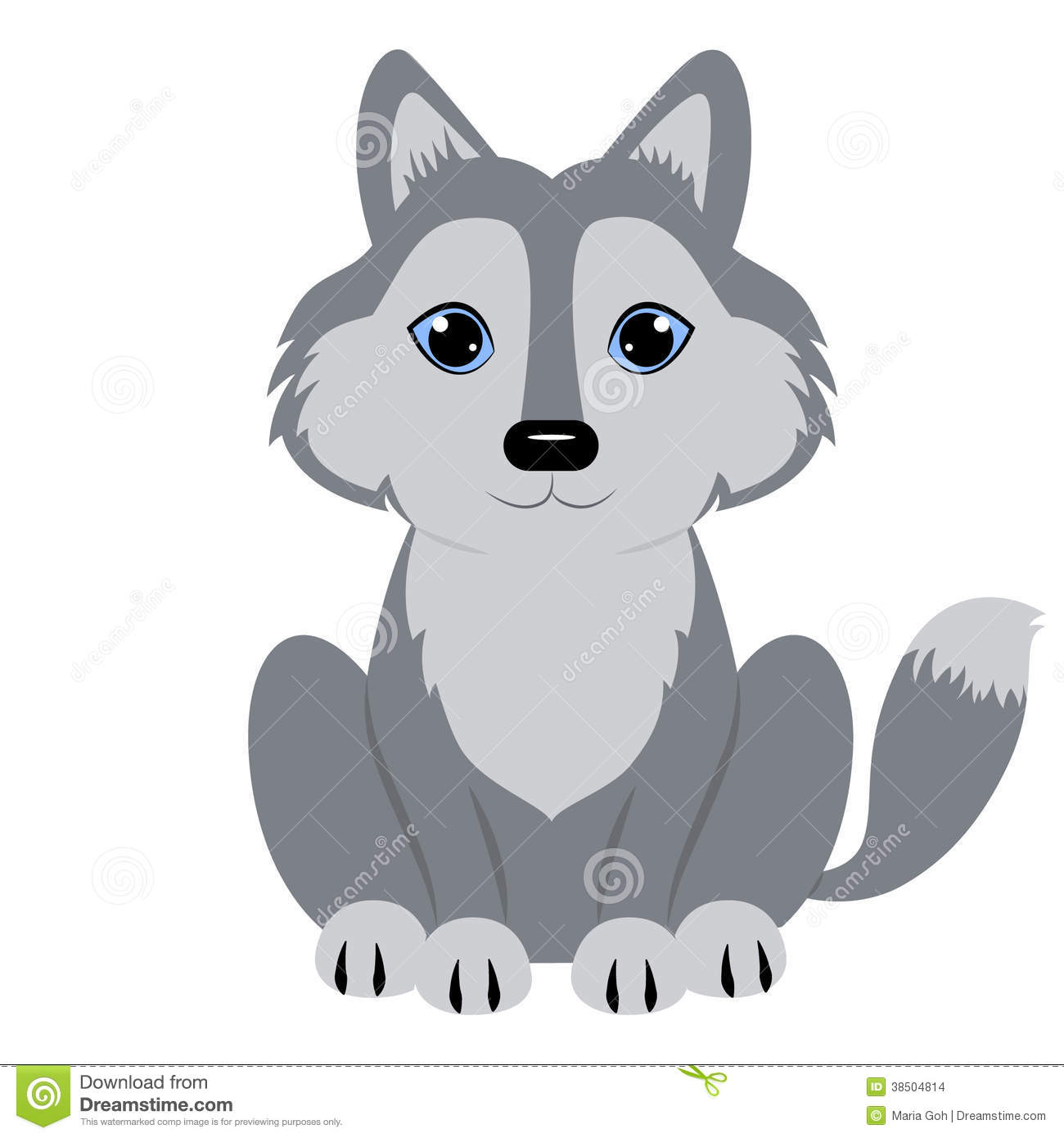 Cute baby wolf . Wolves clipart adorable
