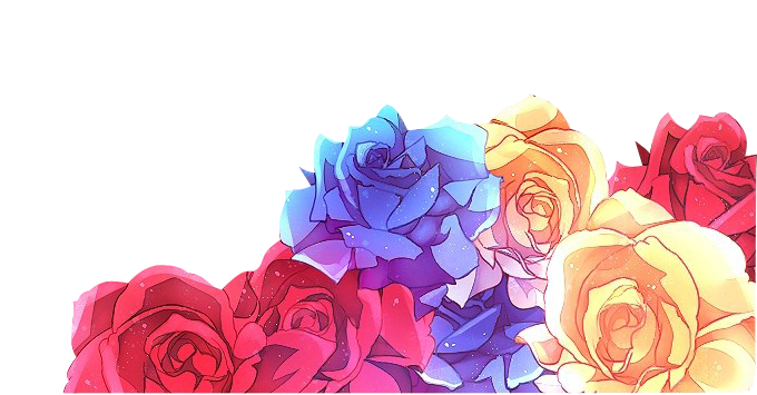 Anime flower png. Roses border rainbow flowers