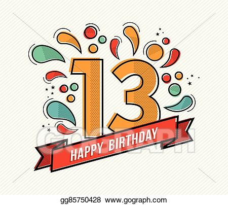 Vector stock colorful happy. Anniversary clipart 13th