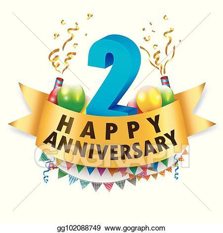 Anniversary clipart 2nd. Clip art vector happy