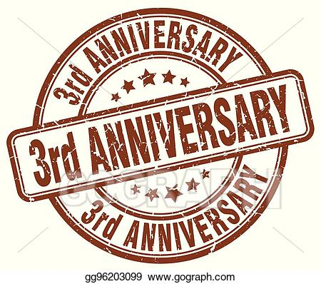 Anniversary clipart 3rd. Eps vector rd brown