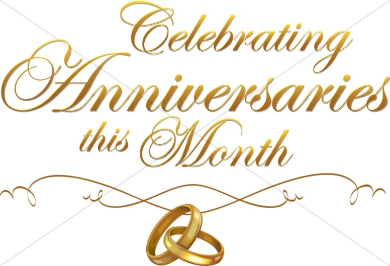 Multiple script with rings. Anniversary clipart anniversary celebration