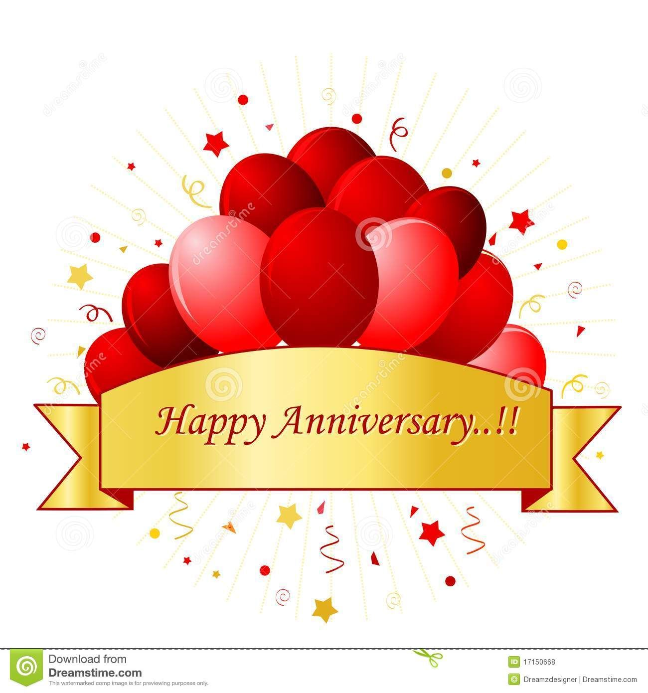 Happy card in red. Anniversary clipart balloon