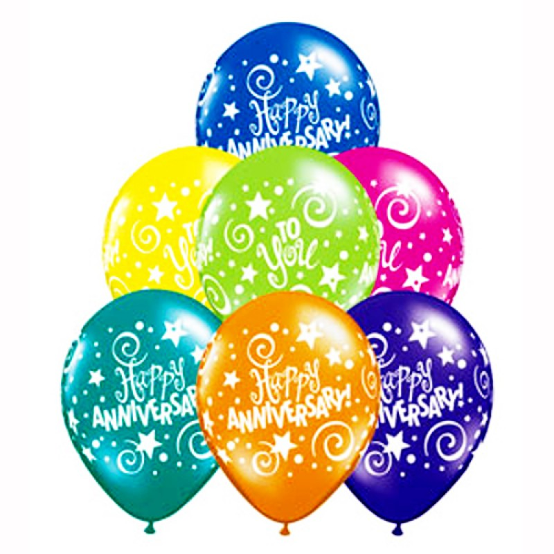 Assorted happy printed balloons. Anniversary clipart balloon