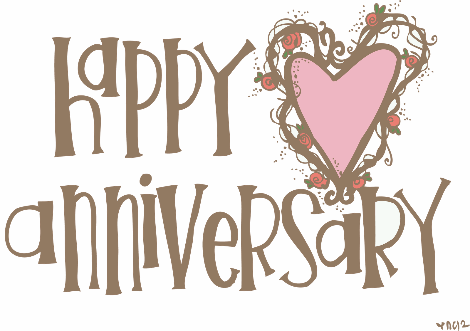 Happy heart picture . Anniversary clipart calligraphy