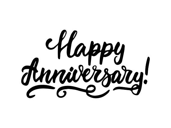 Anniversary clipart calligraphy. Happy poster greeting banner