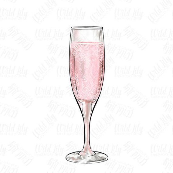 Glass pink clip art. Anniversary clipart champagne flute