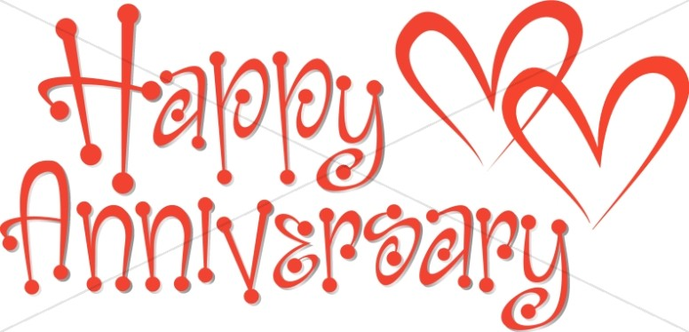Anniversary clipart cute. Red wordart with hearts