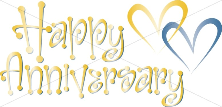 Anniversary clipart cute. Blue and gold happy