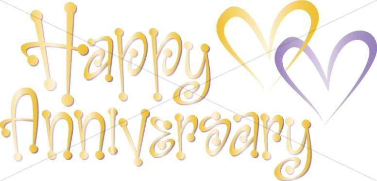Happy wordart with hearts. Anniversary clipart cute