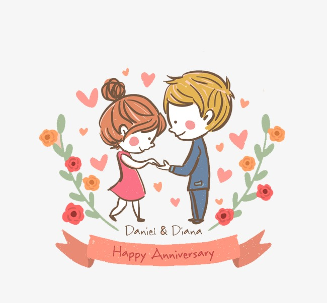 Anniversary clipart lovely couple. Cute greeting card vector