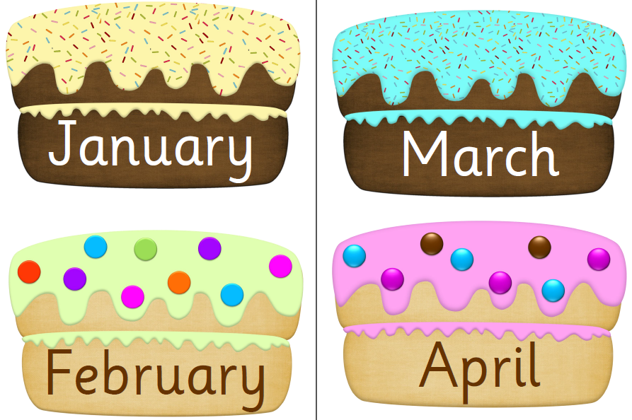 Anniversary clipart month. Birthday cakes months free