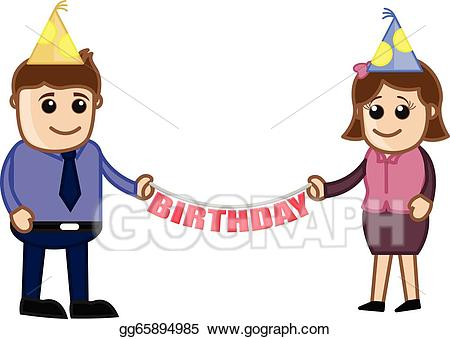 Vector illustration poeple showing. Anniversary clipart office