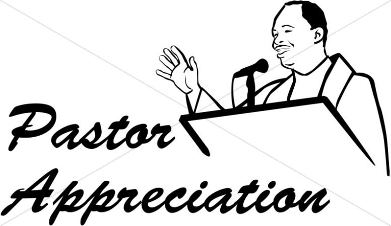 Anniversary clipart pastor. Appreciation in black and