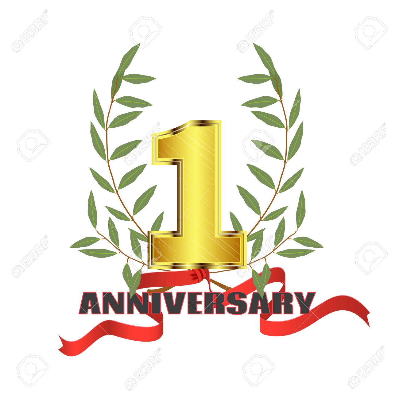 Anniversary clipart ribbon. One year collection online