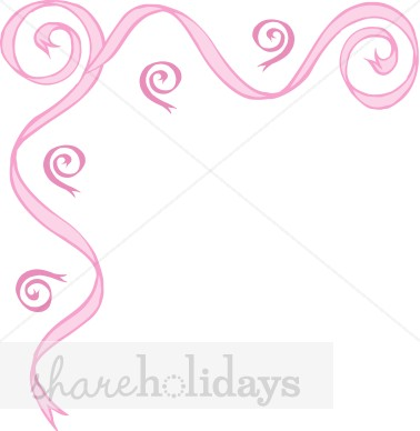 Pink corner scroll party. Anniversary clipart ribbon
